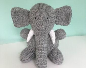 Knitted Elephant, New Baby Gift, Nursery Gift, Soft Toy, Gift for Child, Gift for Her, Gift for Elephant Fan
