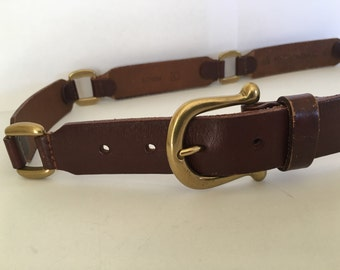 Vintage Women's Fossil Linked Brown Leather Belt, Brass Buckle & Links Sz 33-34