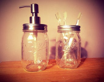 Ball Mason Jar Soap Dispenser with Stainless Steel Pump & Matching Toothbrush Holder