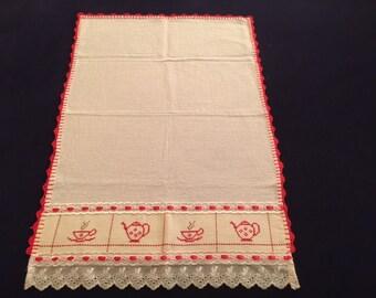 Kitchen Towel with Teapot & Teacup Design