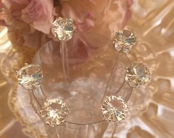 Set of 6 Crystal Rhinestone Hair Pins , Bridal Wedding , Bridesmaids , Hair Jewelry.
