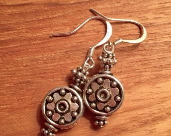 Silver bali style bead earrings