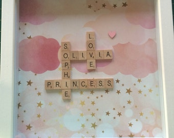 Personalised Scrabble Frames - Nursery - Girl - Newborn - Gift