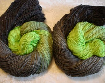 SOFTY SHINY FING yarn, Superwash Wool, Hand Dyed, Sparkle yarn, Color - Elphaba, from Wicked