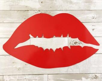 Metal Lips - Lips Wall Decor - Red Lips - Metal Home Decor