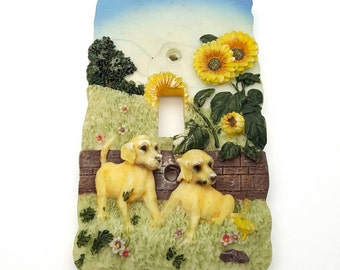 Vintage Dog Light Switch Cover with Sunflower Puppies in the country Resin Plastic Plate switchplate Cottage Farmhouse Chic