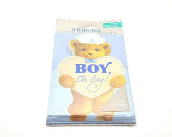 Pack of 8 vintage 90s Baby Boy Announcements It's a Boy Cards Boy, Oh Boy Teddy Bear Sailor Made in USA Craft Scrapbook Supplies Blue
