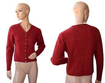 Vintage women cardigan red lambswool and angora