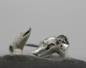 Vakkancs Greyhound solid sterling silver earrings