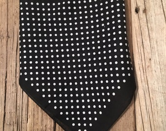 Black-White Small Dot Fleece Lined Tie-back Scarf