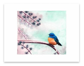 Watercolor painting print - Bird on a branch