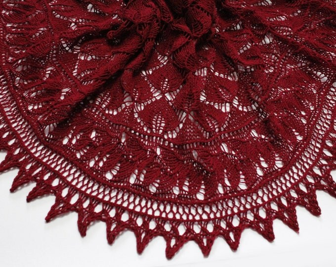 knitted scarf, knit shawl, crochet shawl, maroon shawl, cashmere shawl, crochet scarf, hand knit, scarf in the form of a crescent