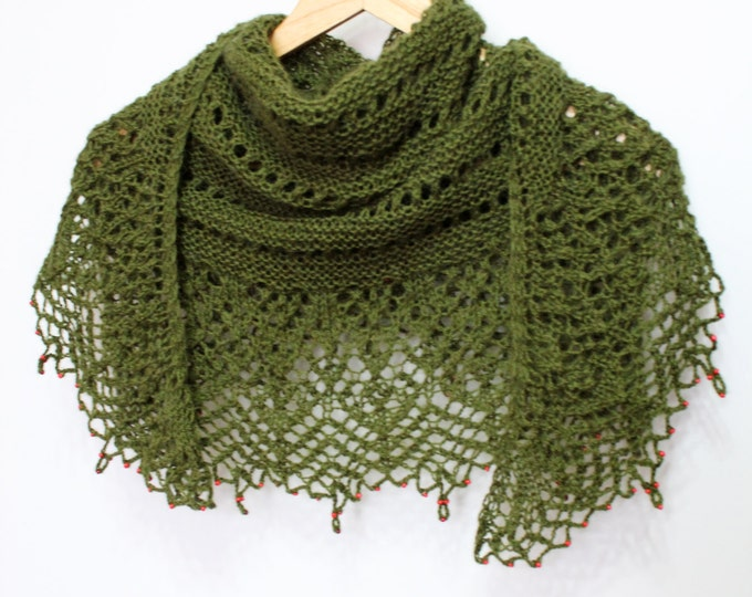 Green knitted shawl with beads, knitted shawl, delicate scarf, shawl hand knit, mohair shawl, knit shawl, knit scarf, knitted shawl