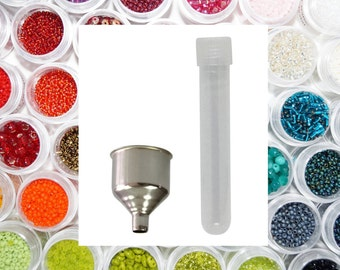 See and Find Beads Easily - Bead Organizer Mini Storage Containers Kit - 50 Storage Tubes for Beads & Small Funnel for Pouring Beads