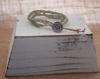 Double Wrap Ladder Bracelet with 4MM 4mm Aventurine and Silver Button Closure