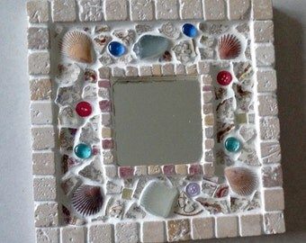 Mosaic mirror with beach glass & shells
