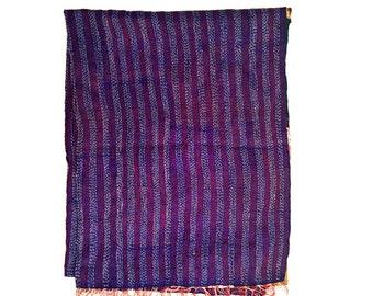 "Kantha Silk Fabric / XL - Scarf ""DARJEEL""|textile|handmade| high quality silk shawl| sari Patchwork | embroidery | kantha stiching| stola |"