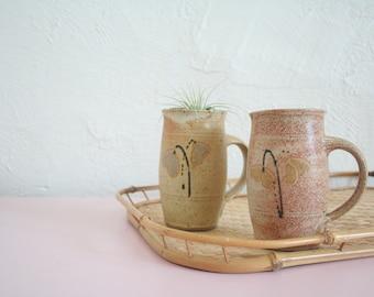 Pair of Vintage Stoneware Mugs / Farmhouse Pottery / Farmhouse Decor / His and Hers Mugs / Large Coffee Mugs / Neutral Mugs