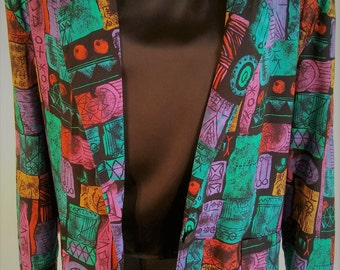 Vintage 80's Women's Colorful Jewel Tone Geo ColorBlock Oversized Slouchy Blazer Jacket by HOTSTUFF Size M