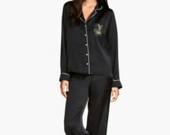 Silky Satin PJ Nightsuit with Bead Embroidery & **FREE** Matching Bead Embroidered Eyeshade Sleep Mask