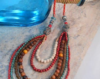 African Necklace Bohemian Hippie Necklace Multi strand layered wood beads
