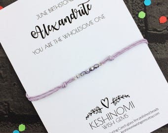 Birthstone bracelet, June birthstone, wish bracelet, friendship bracelet, birthday gift ideas, gift for her,alexandrite style,personalised
