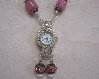 Vintage Rhinestone Watch Assemblage Necklace, Upcycled Repurposed Watch Necklace, Rhinestone Watch Upcycled Pendant Necklace