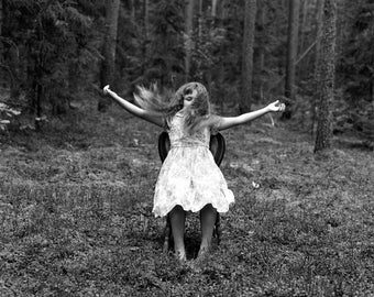 Freedom- Black and White Photography, Nature, B&W Art Print, Girl, Forest, Medium Film Camera