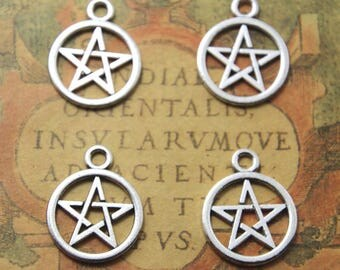 20pcs Pentagram Charms Silver Tone ,Pentagram pendants 20x25mm ASD1114
