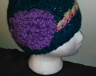 Toddler Size Multicolor Hat with Flower