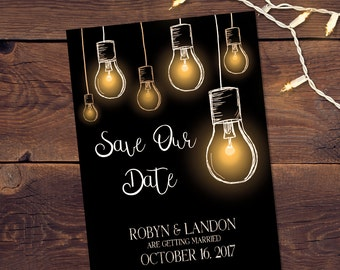 hanging light bulbs printable save the date card
