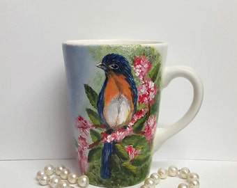 Hand painted mug, cappuccino mug, summer bird, gift for her, unique gift, ready to ship