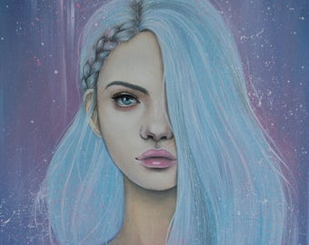 Fantastic girl painting. Original painting. Oil painting canvas. Surreal art. Wall Decor. Girl portrait. Canvas oil painting. Blue hair.