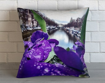Flowers on Amsterdam Canal Pillow