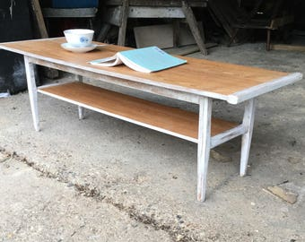 Mid Century Coffee table with distressed white frame
