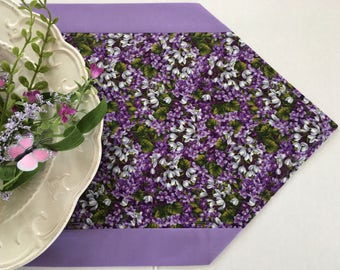 "Floral Table Runner lavender and purple in 12"" x 72"""