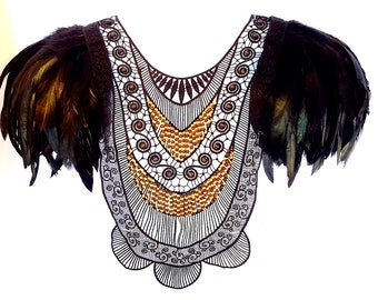 Black feather epaulettes. Large black tribal beaded collar with feather wings. Perfect for Burning Man. 'Shamen'