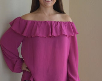 Magenta Off the Shoulder Blouse