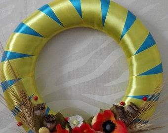 Wreath door hanger Wreath Outdoor Year Round Door Wreath Wreath For Door  Ukrainian Wreath Wreath Wreath For The Door