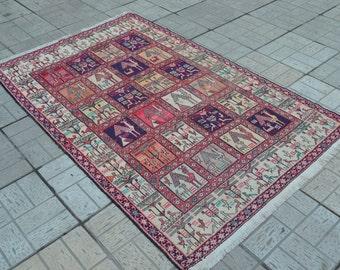 Vintage Kilim rug. Turkish kilim rug. Vintage carpet. Free shipping. 6.2 x 4 feet.
