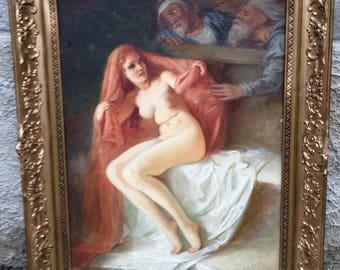 "Amazing and RARE painting by Szantho Maria ""slave market"""