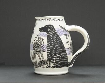 Black labrador retriever glazed ceramic water jug