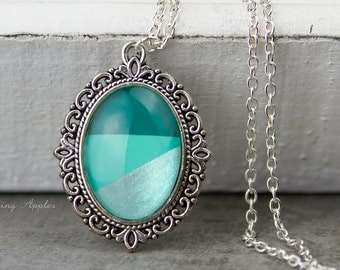 Dip dye necklace - turquoise / necklace in silver color and a hand-painted glass cabochon turquoise tones