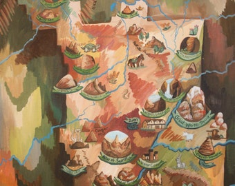 Map of Zion National Park PRINTS