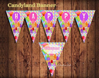 SALE ! INSTANT DOWNLOAD Candyland  Party  Banner