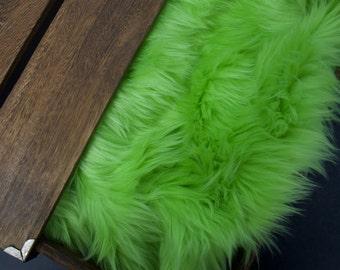 "Lime Green Soft Mongolian Faux Fur, 2"" Pile Newborn Cuddly Faux Fur Nest Newborn,Baby Posing Photo Prop, Stuffer,PhotoProp Layering blanket."