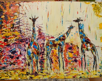 Animal original oil painting on canvas palette knife ready to hang