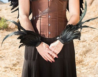 Feather Flare Cuffs - Black Feather Cuffs