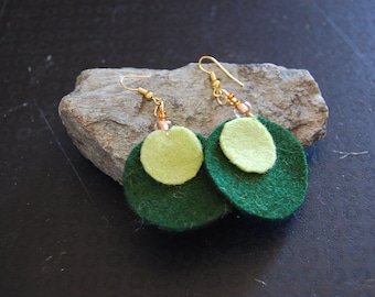 Green felt earrings
