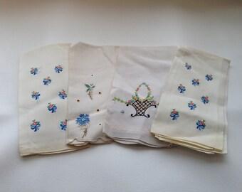 Vintage Linen Embroidered Hand/Tea Towel - Set of 4